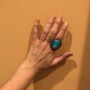 { aldo } silver & turquoise stone ring